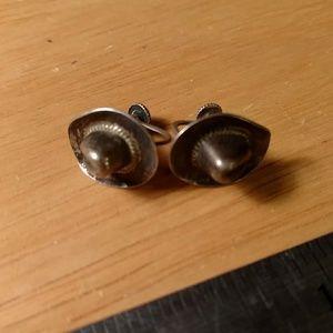 Cowboy hat earrings sterling silver